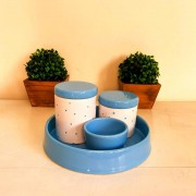 Kit de Higiene em porcelana com 4 peças - Azul Poa