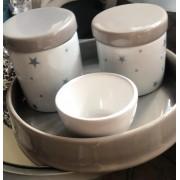 Kit de Higiene em porcelana com 4 peças - Cinza Star