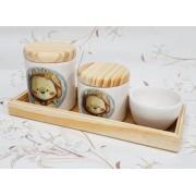 Kit de Higiene em porcelana com 4 peças - Leão