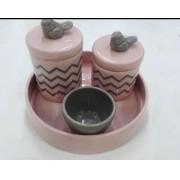 Kit de Higiene em porcelana com 4 peças - Rosa Chevron
