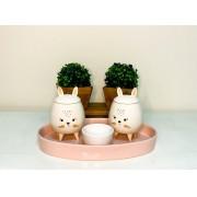 Kit de Higiene em porcelana com 4 peças - Rosa Coelhinha