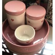 Kit de Higiene em porcelana com 4 peças - Rosa Coração