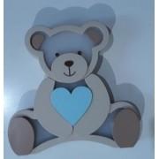 Luminária Urso Coração Azul