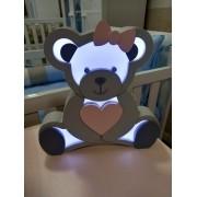 Luminária Urso Coração Rosa