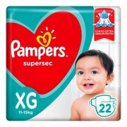 Pampers Super Sec XG - 22 Fraldas