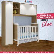 Quarto Completo Componente Dani com Berço Cloe - Branco c/ Carvalho Peroba Móveis