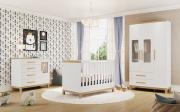 Quarto Completo Louis  Branco - Porta Janelinha - Móveis Peroba
