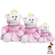 Ursa Princesa Mini Branca com Roupa Rosa