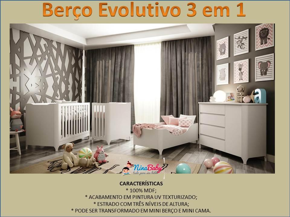 Berço Evolution Reale - Branco Acetinado - Fiorello Moveis