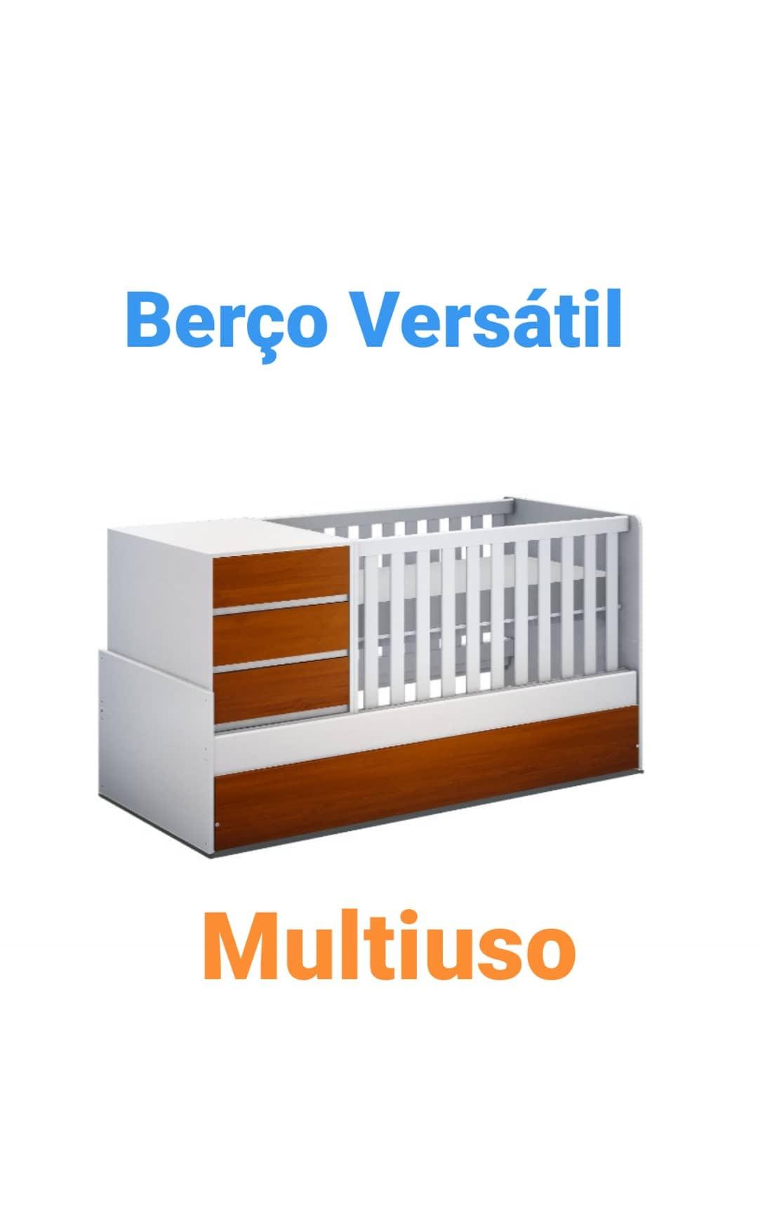 Berço Multifuncional Versatil - Branco/Mel - JC Móveis