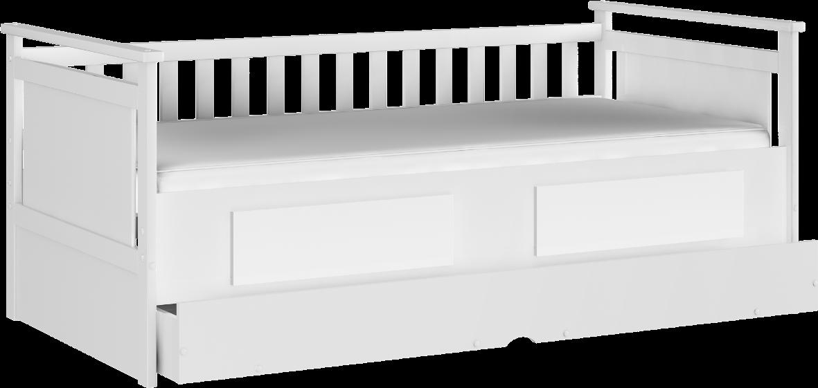 Cama Bibox Lipe com Cama Auxiliar e 2 Gavetas - Branco Peroba Moveis