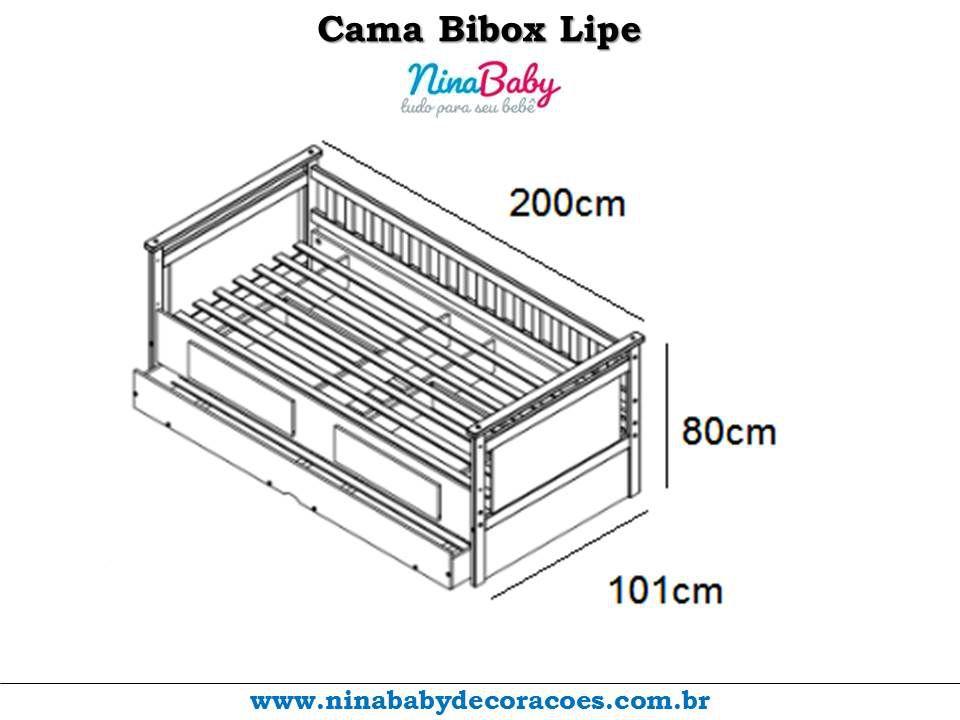 Cama Bibox Lipe com Cama Auxiliar e 2 Gavetas - Carvalho Peroba Moveis