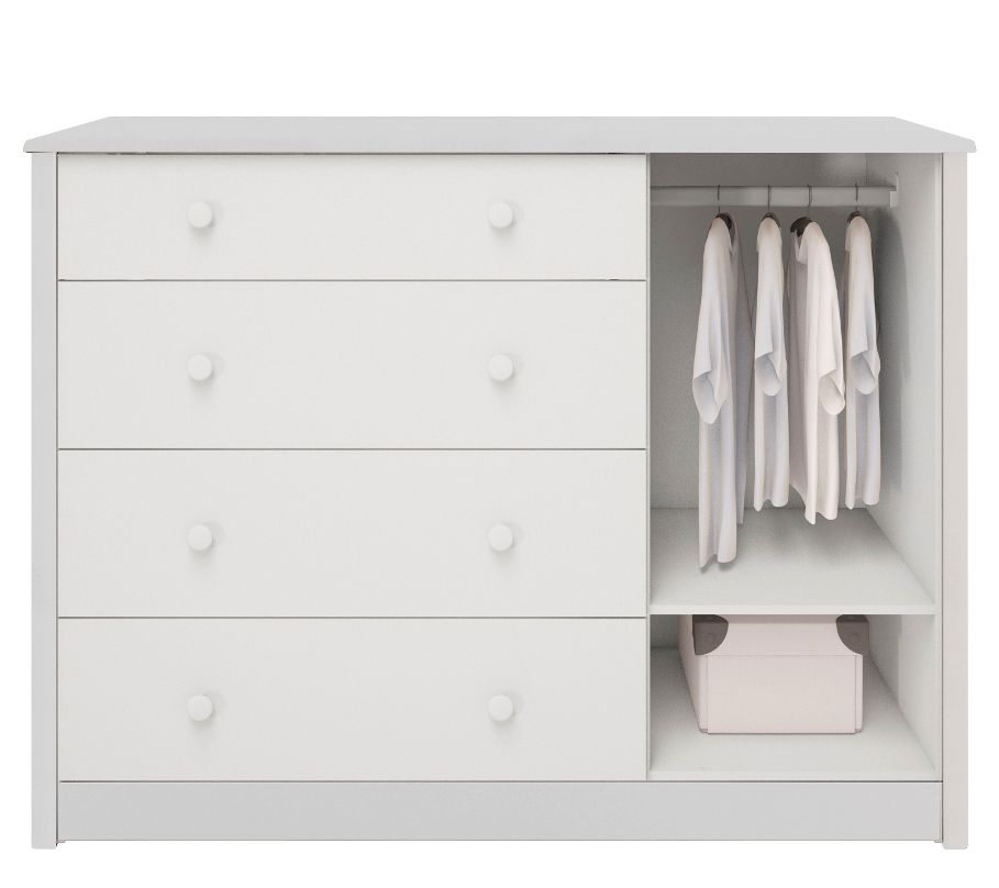 Cômoda de Bebê com 1 Porta e 4 Gavetas Lipe - Branco Peroba Moveis