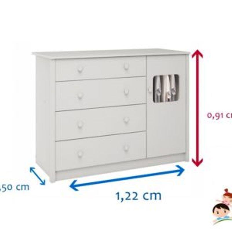 Comoda de Bebê com 1 Porta e 4 Gavetas Mila - Branca Peroba Moveis