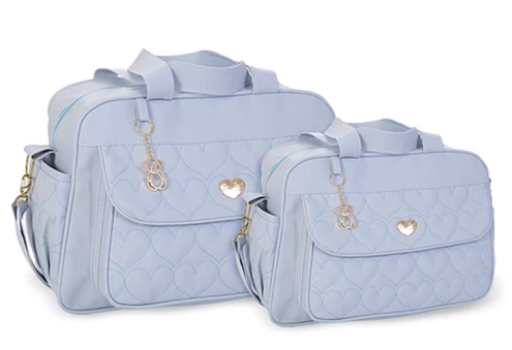 Conjunto Bolsa e Frasqueira Amour - Azul Bebe