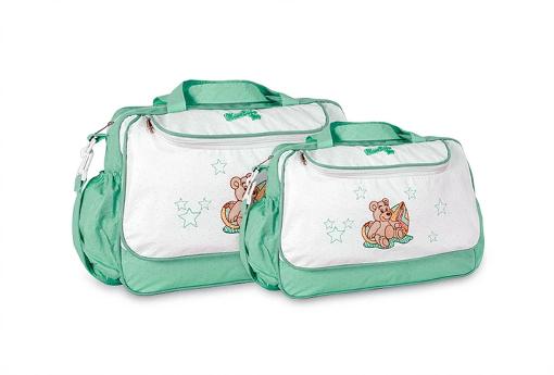 Conjunto Bolsa e Frasqueira Urso - Verde