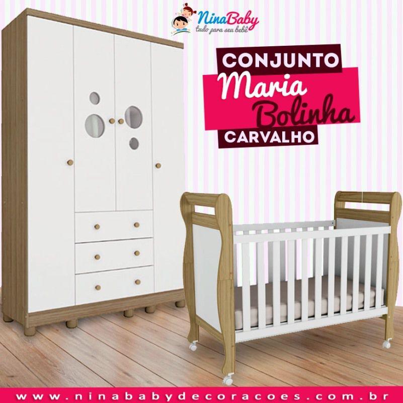 Conjunto Maria Bolinha - Branco com Carvalho Peroba Móveis
