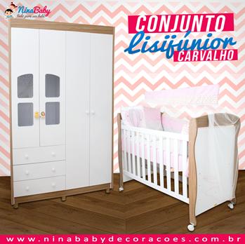 Conjunto Lisi Junior - Branco com Carvalho Peroba Móveis
