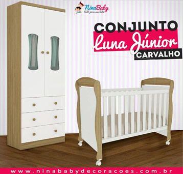 Conjunto Luna Junior - Branco com Carvalho Peroba Móveis.