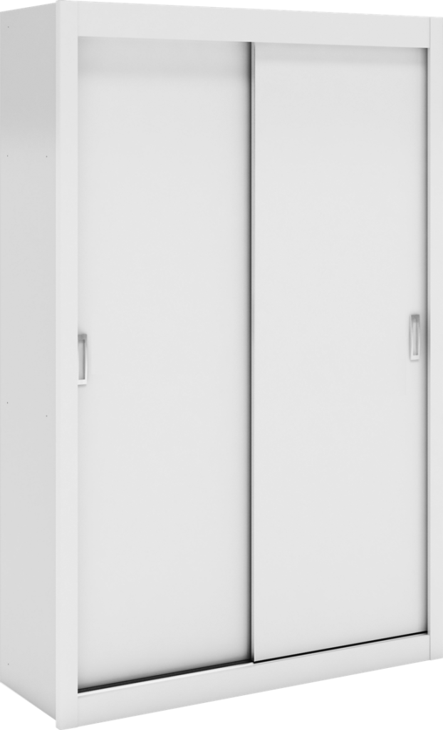 Guarda Roupa Porta de Correr Manu Porta Lisa Branco Peroba Moveis