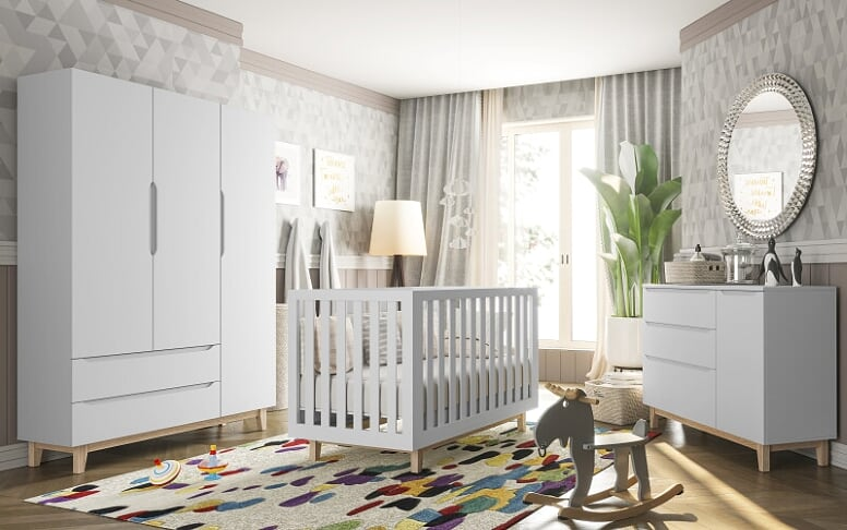 Guarda Roupa Smart Baby- com Pé Artesanal 3 portas Branco