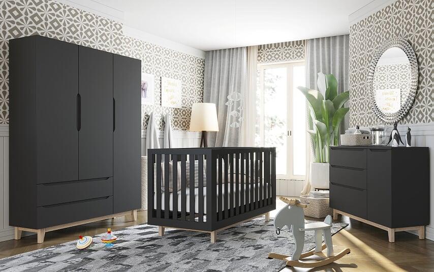 Guarda Roupa Smart Baby- com Pé Artesanal 3 portas Preto