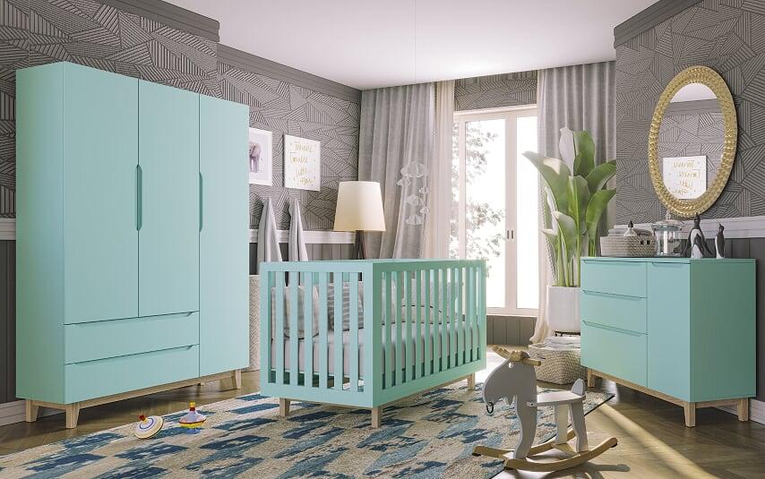 Guarda Roupa Smart Baby- com Pé Artesanal 3 portas Verde