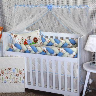 Kit Berço Trança Safari Azul Bebê