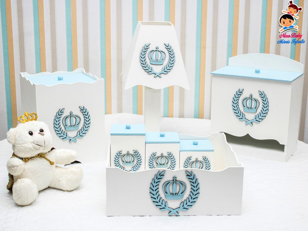 Kit de Higiene Coroa - Azul Bebe