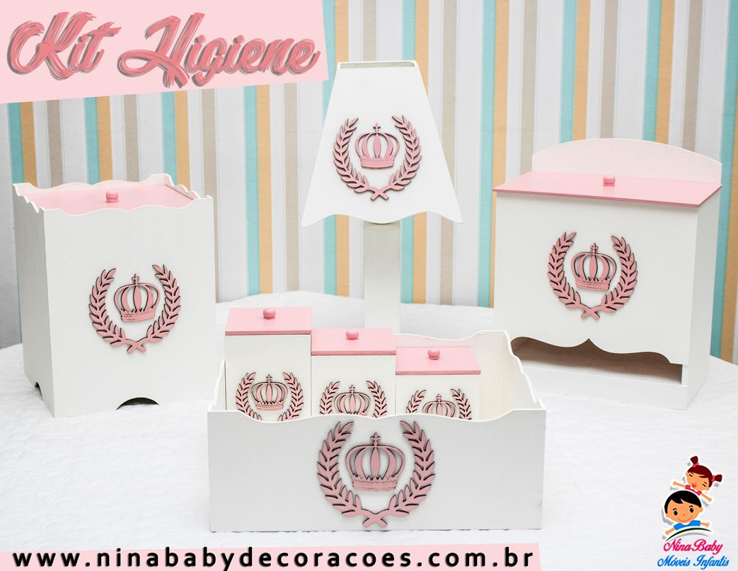 Kit de Higiene Coroa - Rosa
