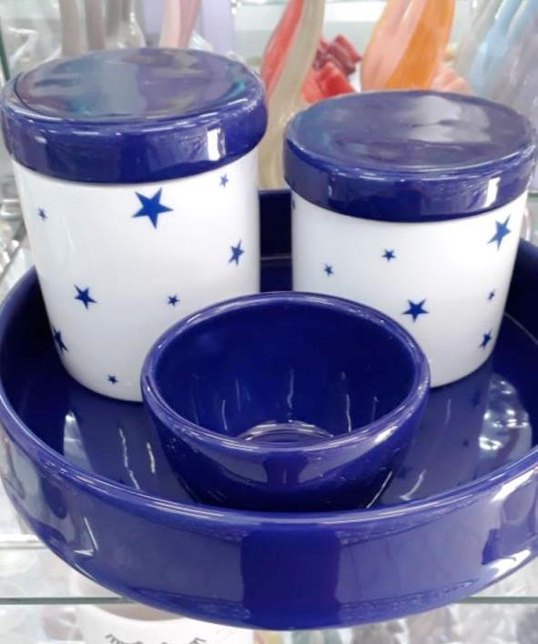 Kit de Higiene em porcelana com 4 peças - Azul Marinho de Poa