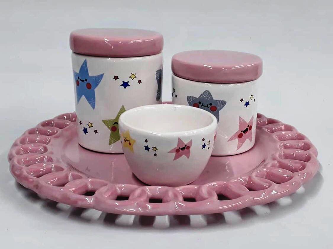 Kit de Higiene em porcelana com 4 peças - Rosa Star