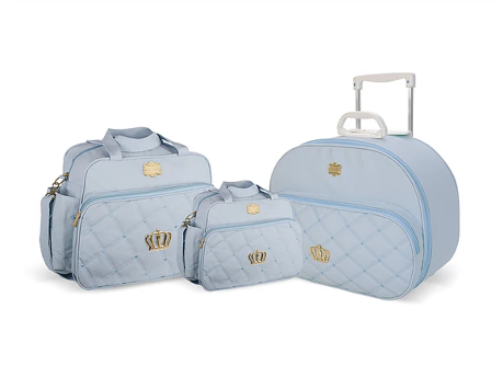 Kit Mala Bolsa e Frasqueira Classic Crown - Azul Bebe