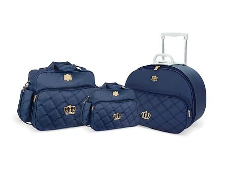 Kit Mala Bolsa e Frasqueira Classic Crown - Azul Marinho