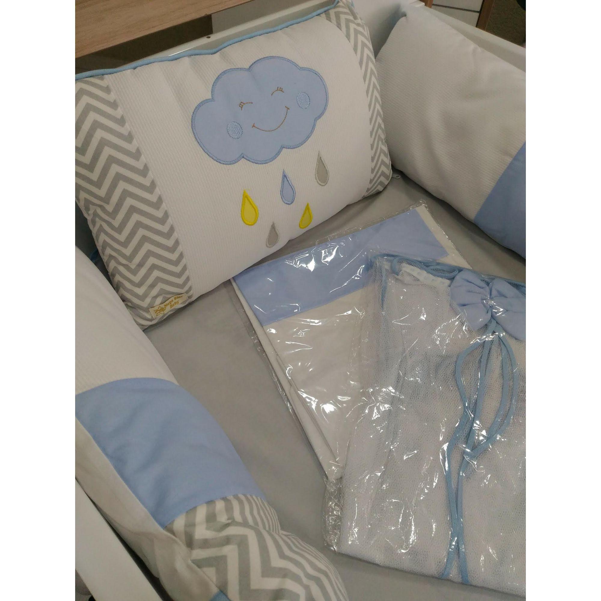 Kit Mini Berço Nuvem Alegre Azul
