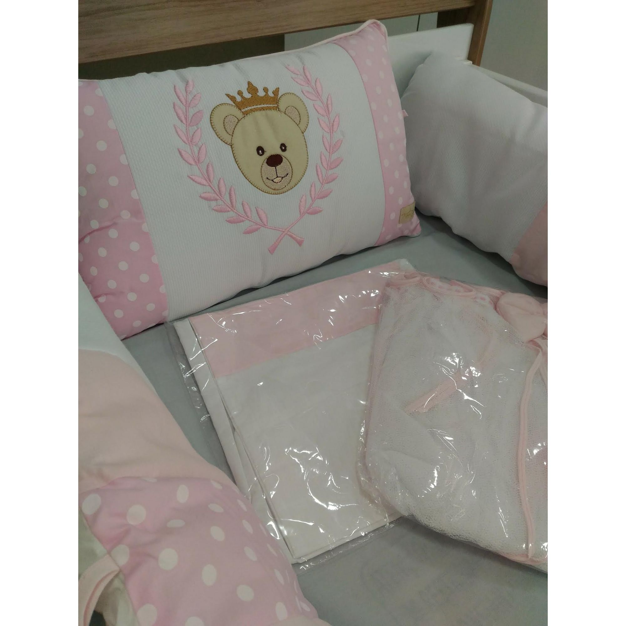 Kit Mini Berço Ursa Princesa Rosa