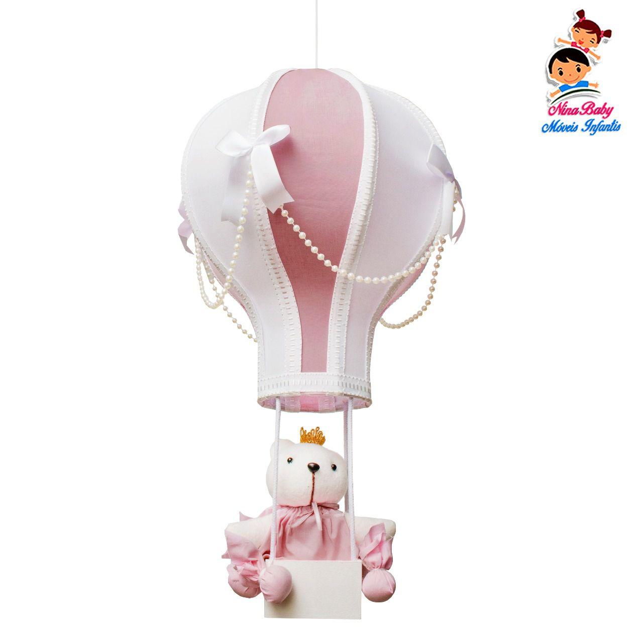 Luminaria Lustre Balão Rosê com Perolas