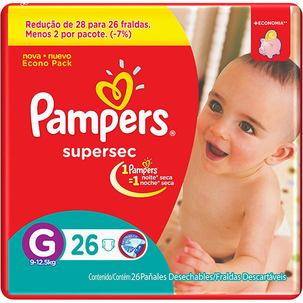 Pampers Super Sec G - 26 Fraldas