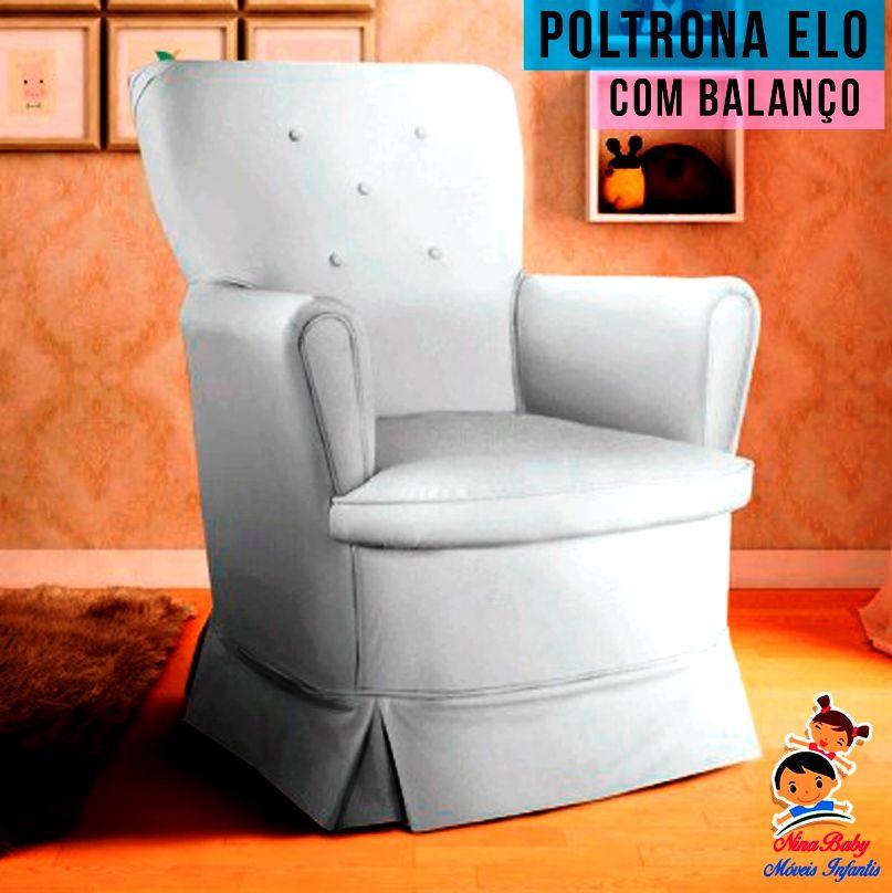 Poltrona Elô Balanço Courino Branco c/ Puff - Peroba Móveis