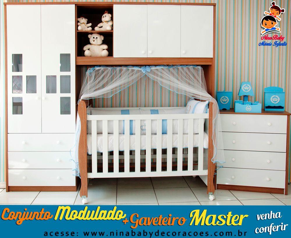 Quarto Completo Componente Biel com Berço Junior e Gaveteiro Master- Branco com Carvalho Peroba Móveis
