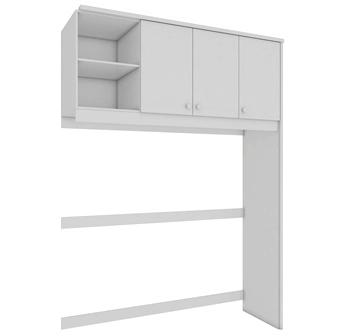Quarto Completo Componente Dani com Cômoda e Berço Retrô porta Lisa - Branco c/ Cinza Peroba Móveis
