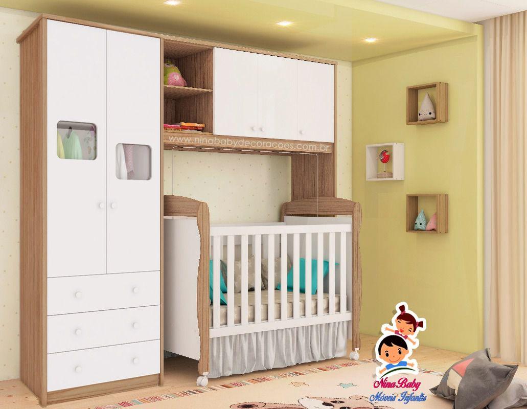 Quarto Completo Componente Mila com Berço Junior - Branco com Carvalho Peroba Móveis