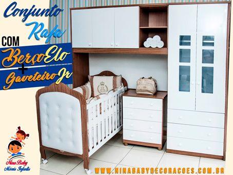 Quarto Completo Componente Rafa com Berço Elô c/Capitonê Branco e Gaveteiro Junior  - Branco com Carvalho Peroba Móveis