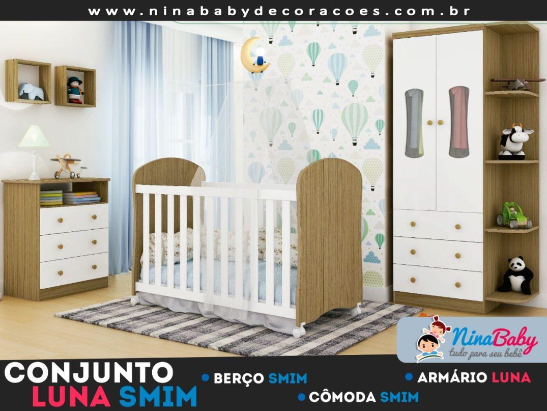 Quarto Completo Luna c/ Prateleira - Branco com Carvalho Peroba Móveis.