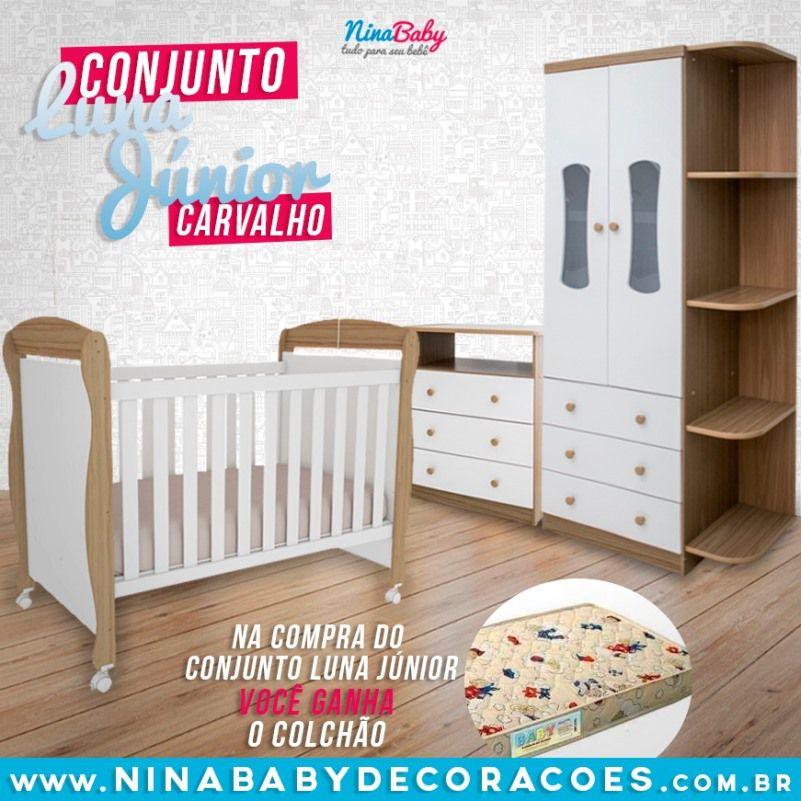 Quarto Completo Luna c/ Prateleira e Berço Junior - Branco com Carvalho Peroba Móveis.