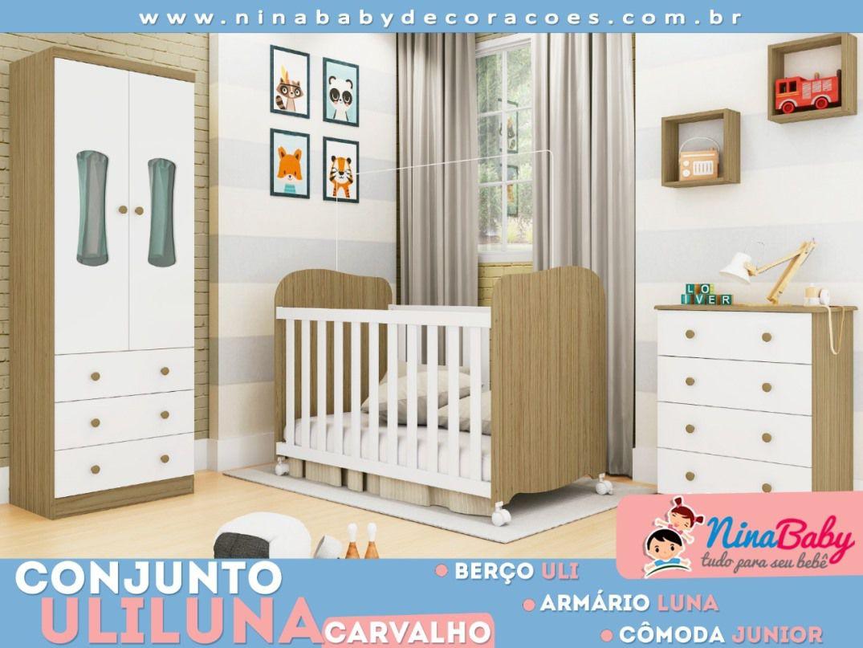 Quarto Completo Luna com Berço Uli - Branco com Carvalho Peroba Móveis.
