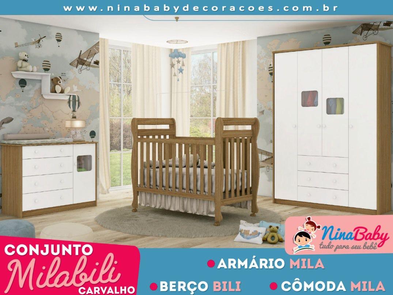 Quarto Completo Mila com Berço Bii - Branco com Carvalho Peroba Móveis