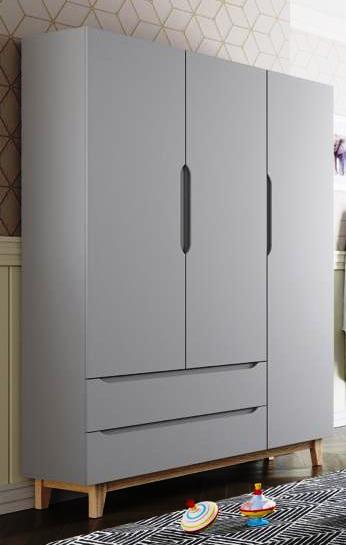 Quarto Completo Smart com berço Colore - Cinza - Fiorelli