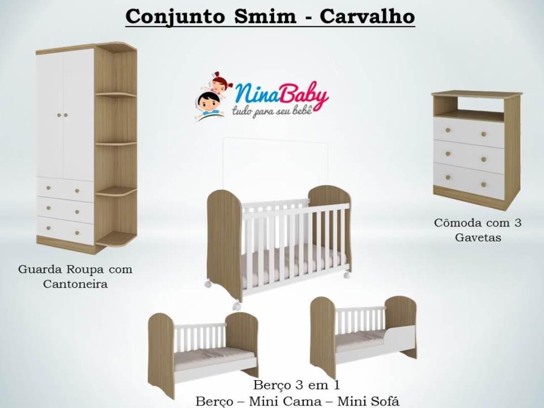 Quarto Completo Smim c/ Prateleira - Branco com Carvalho Peroba Móveis.