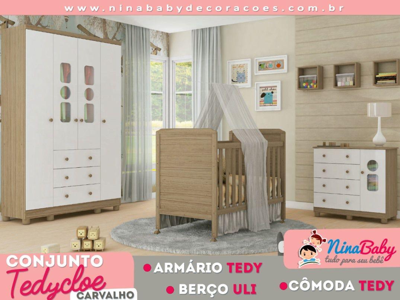 Quarto Completo Tedy com Berço Cloe - Branco com Carvalho Peroba Móveis